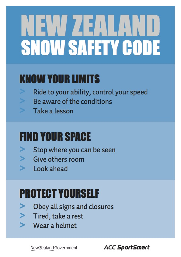 NZ snow safety code